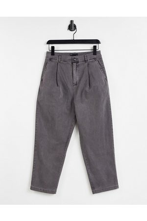 ASOS Wide leg pants with pleats in -Grey