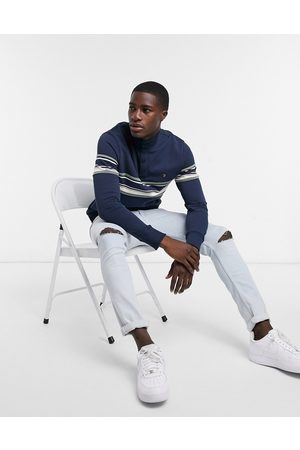 Farah Hales button funnel-neck striped panel sweatshirt in