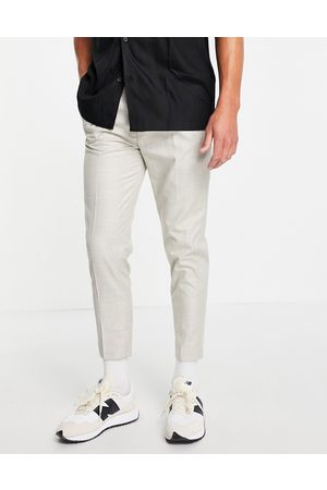 ASOS Tapered smart linen pants in prince of wales check-White