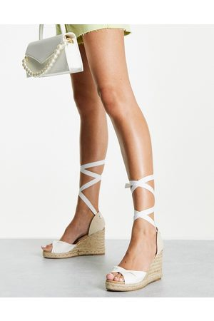 New Look Tie up espadrille wedge heel sandals in