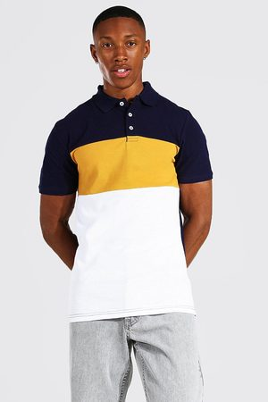 Boohoo Mens Mustard Muscle Fit Colour Block Pique Polo