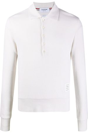 Thom Browne Men Long sleeves - Long-sleeved cashmere polo shirt