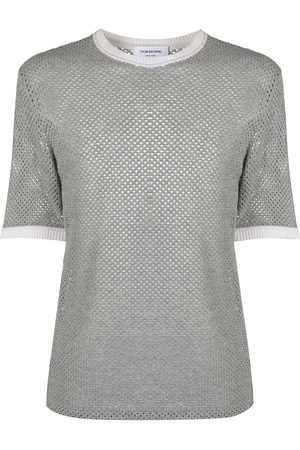 Thom Browne Men Short Sleeve - Knitted cashmere T-shirt
