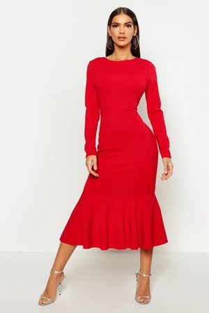 Boohoo Women Evening Dresses - Fishtail Long Sleeve Midaxi Dress