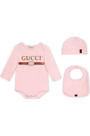 Gucci Bodysuit, bib and hat set