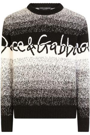 Dolce & Gabbana Men Sweaters - Striped logo-embroidered jumper
