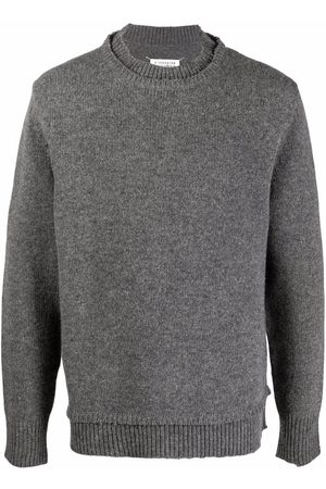 Maison Margiela Men Sweatshirts - Layered-collar elbow-patch distressed jumper