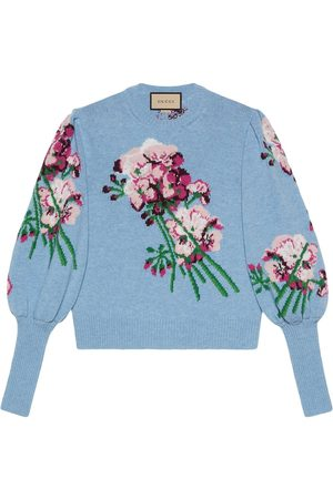 Gucci Floral-intarsia knit blouse