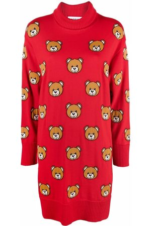 Moschino Embroidered-Teddy rollneck dress