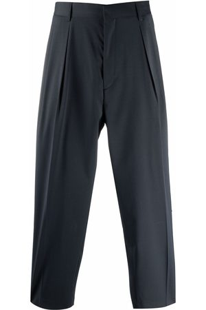 Paul Smith Men Wide Leg Pants - Side-striped pleated trousers