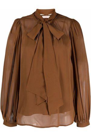 Tory Burch Pussy bow-collar silk blouse