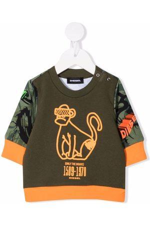 Diesel Sweatshirts - Graphic-print panelled sweatshirt