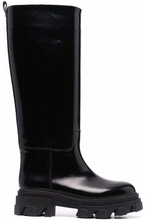 GIA Leather chunky-sole boots