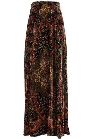 Etro Malibu Floral-jacquard Velvet Maxi Skirt - Womens - Multi