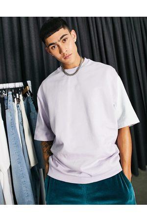 ASOS Co-ord short sleeve oversized sweatshirt in tonal pastel colour block-Multi