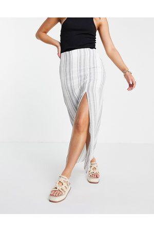 ASOS Maxi skirt with thigh split in mono stripe