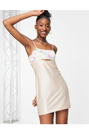 ASOS Mini sundress with cut out and tie back in print-Multi