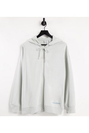 COLLUSION Zip-through oversized hoodie with brand print in co-ord