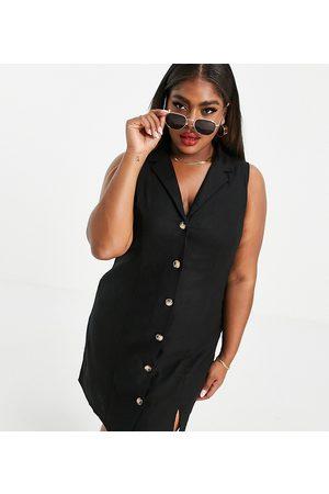 ASOS ASOS DESIGN Curve sleeveless button-through mini dress in