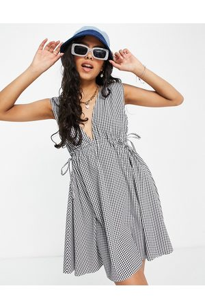 ASOS Plunge mini sundress with ruched waist in seersucker gingham-Multi