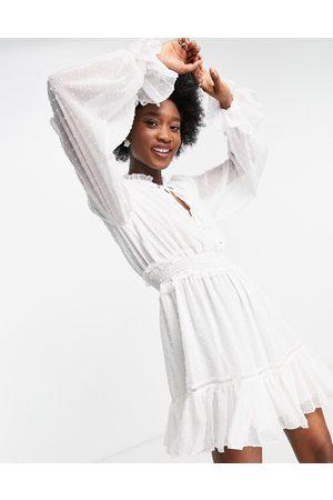 Forever New Women Mini Dresses - Shirred waist skater mini dress with flippy hem in ivory-White