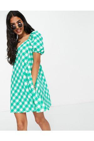 ASOS Textured puff sleeve mini dress in -Multi