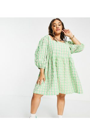 COLLUSION Plus exclusive gingham seersucker mini smock sundress in green and pink-Multi