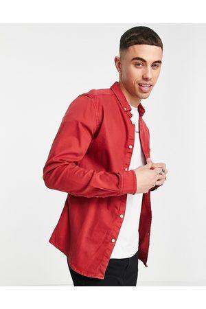 ASOS Slim denim shirt in -Orange