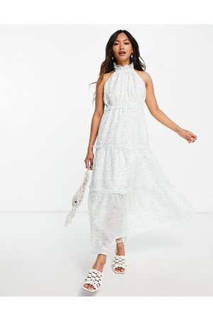 Lost Ink Midaxi halterneck dress with tiered skirt in ditsy floral-White