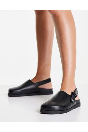 Topshop Lacey leather flat clog footbed in