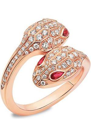 Bvlgari Serpenti Seduttori 18K Rose Gold, Diamond & Rubellite Snake Ring
