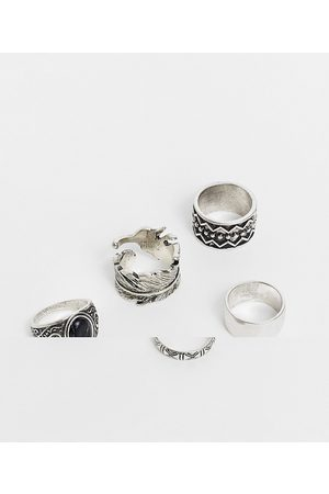 ASOS DESIGN 5 pack chunky ring set in burnished tone