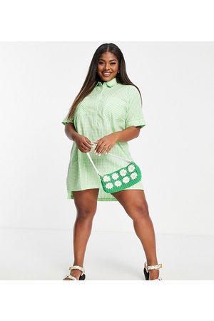 Wednesday's Girl Women Casual Dresses - Oversized mini shirt dress in pastel gingham-Green