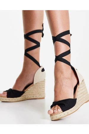 New Look Women Wedges - Tie-up espadrille wedge heel sandal in