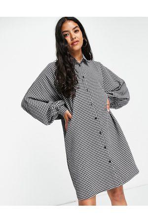 ASOS Batwing mini shirt dress in gingham-Multi