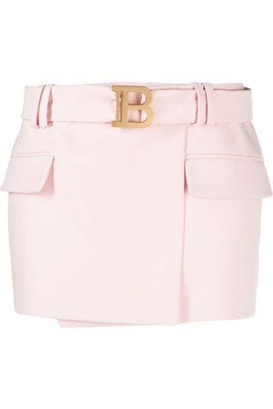 Balmain Women Mini Skirts - B logo miniskirt