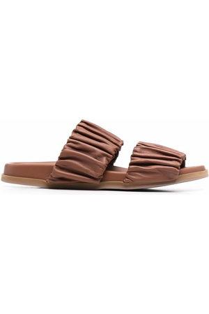 santoni Ruched leather sandals