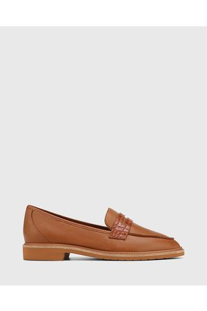 Wittner Women Loafers - Espresso Leather Almond Toe Loafers - Flats (Tan) Espresso Leather Almond Toe Loafers