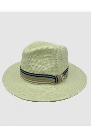 Jacaru 1886 Fedora Ivory with striped ribbon - Hats (Nude) 1886 Fedora Ivory with striped ribbon