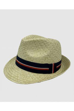 Jacaru 1887 Straw Trilby Natural with navy ribbon - Hats (Nude) 1887 Straw Trilby Natural with navy ribbon