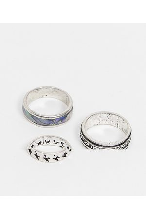 ASOS 3 pack band ring set with 90s design in tone