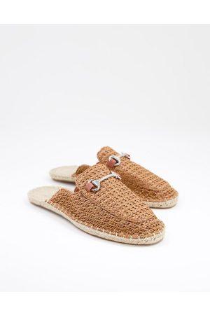 ASOS Slip-on mule espadrilles in weave with snaffle-Brown