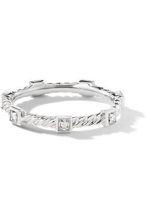 David Yurman 18kt white gold Cable stack diamond band ring