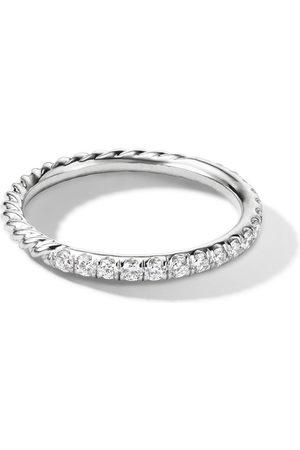 David Yurman 18kt white gold Cable pave diamond band ring