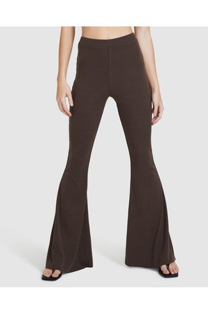 Don't Ask Amanda Women Wide Leg Pants - Rocko Ribbed Flare Pants Chocolate