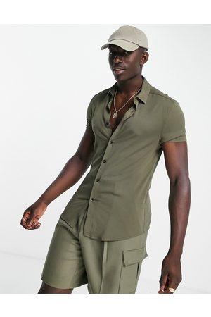 ASOS Men Short sleeves - Skinny viscose shirt in -Green