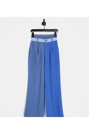 COLLUSION Unisex straight leg pants with double waistband in tonal blues