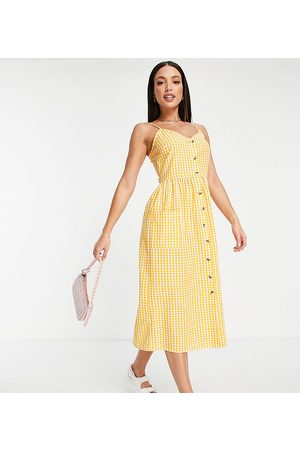 Influence Tall button front dress in gingham