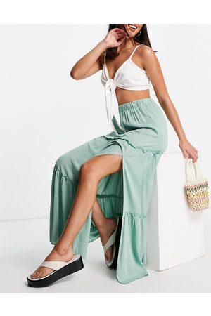ASOS Maxi skirt in crinkle with side split in -Multi