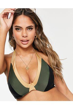Figleaves Fuller Bust underwire halter bikini top in khaki gold